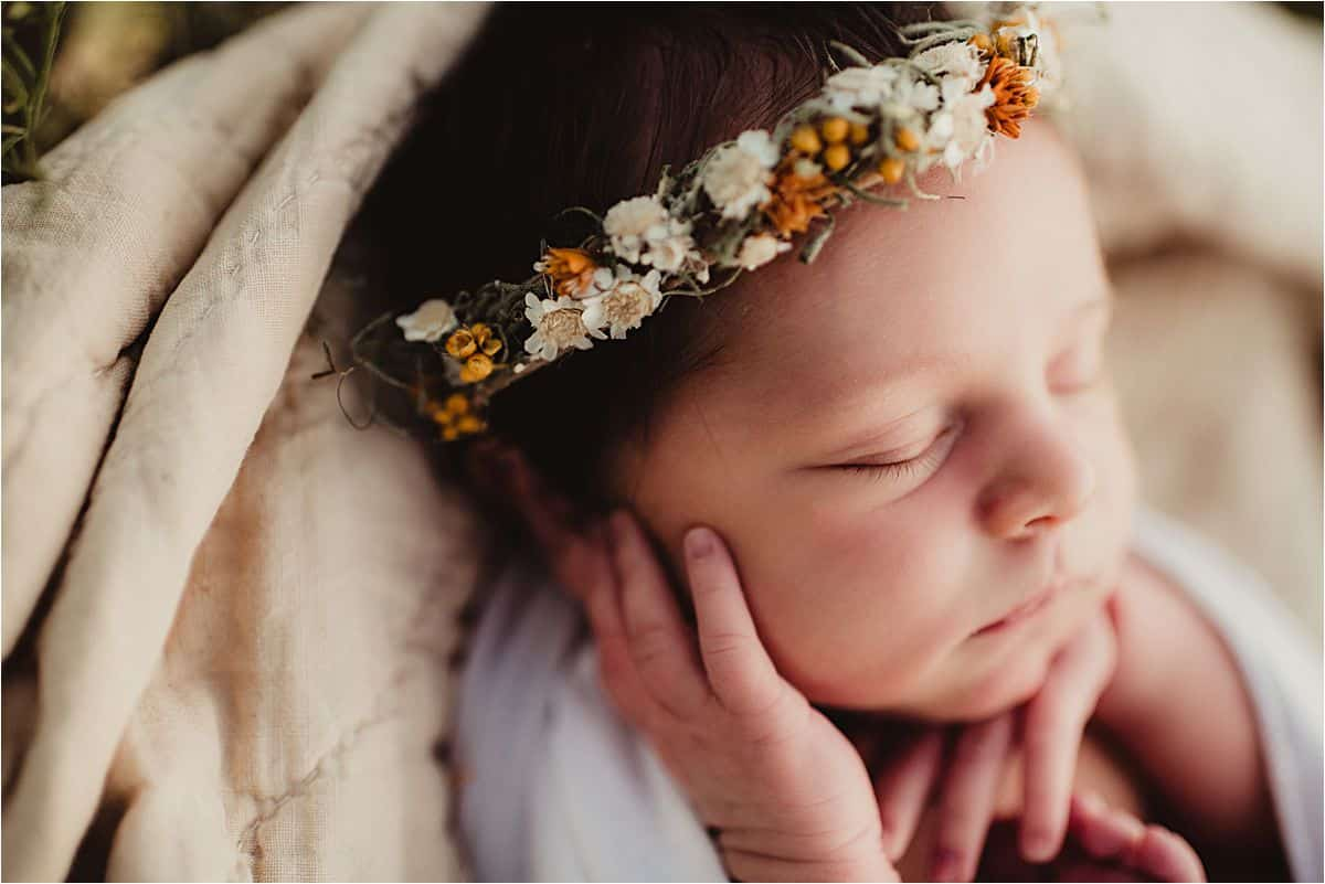 Close Up Newborn Girl Face