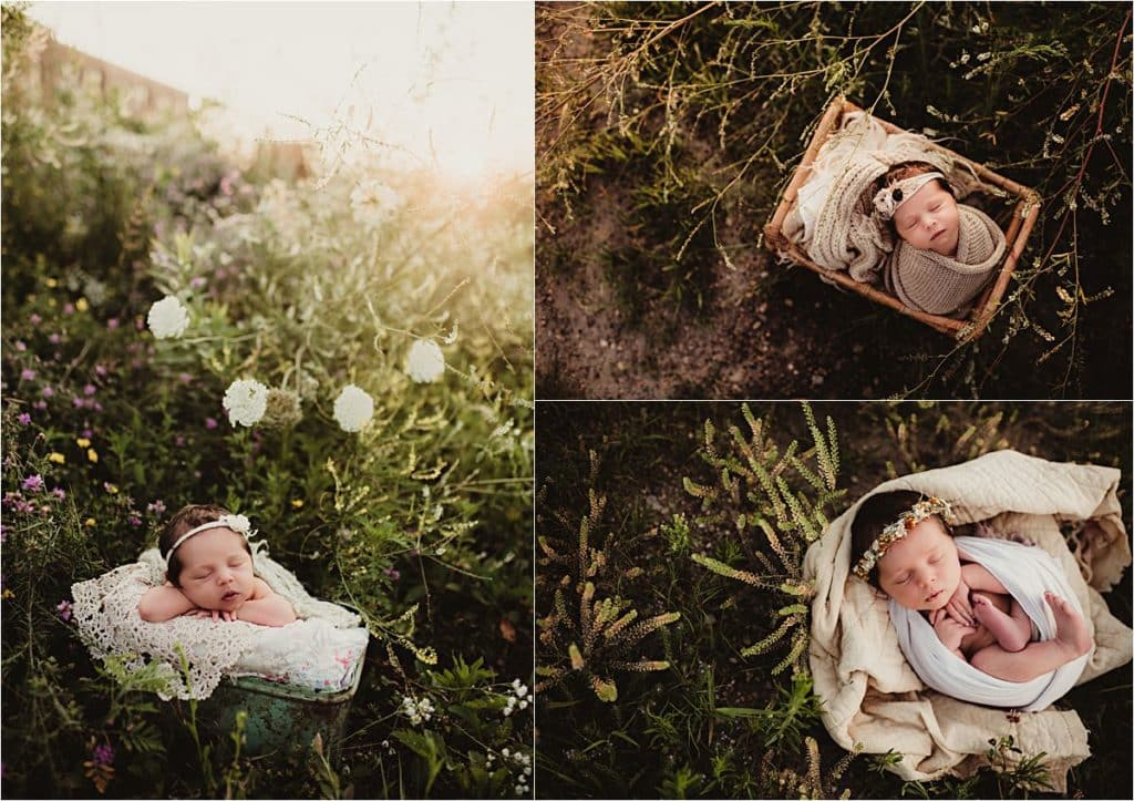 Outdoor Floral Newborn Session Collage