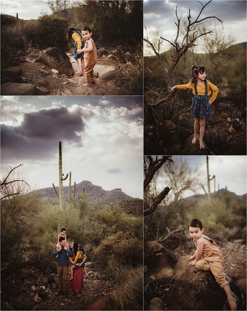 Arizona Family Session Collage Family in Desert