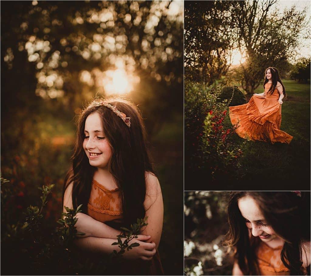 Spring Sunset Portrait Session Collage Girl in Orange Dress