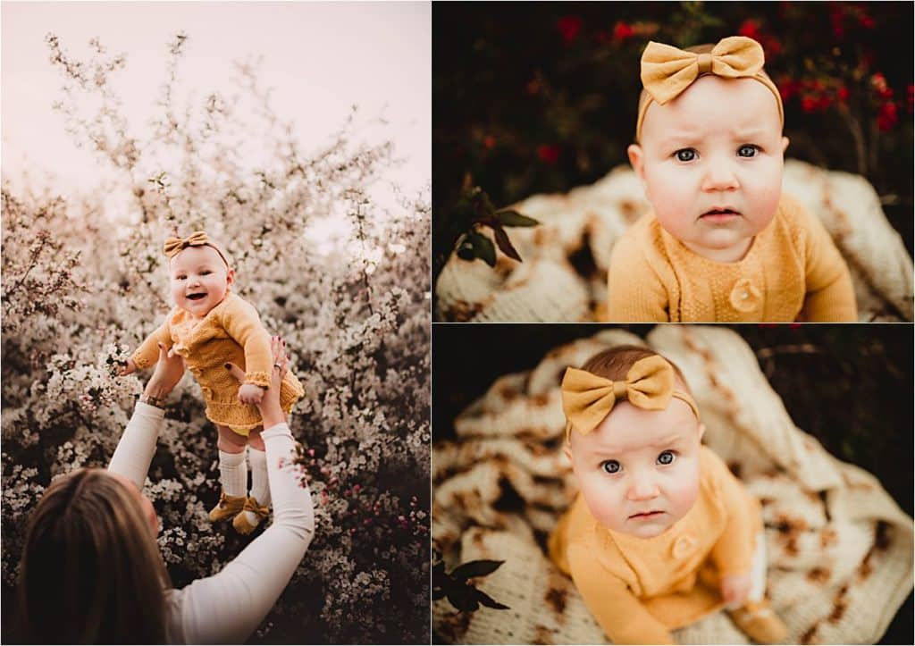 Spring Milestone Session Collage Baby Girl