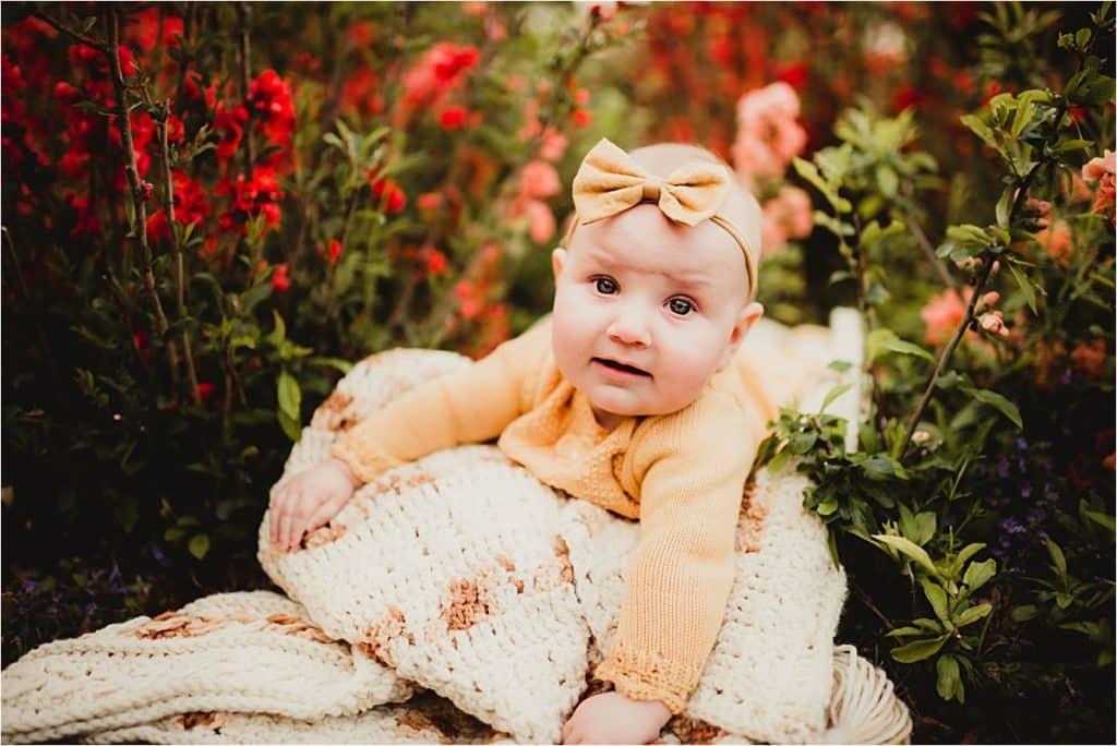 Spring Milestone Session Baby on Blanket