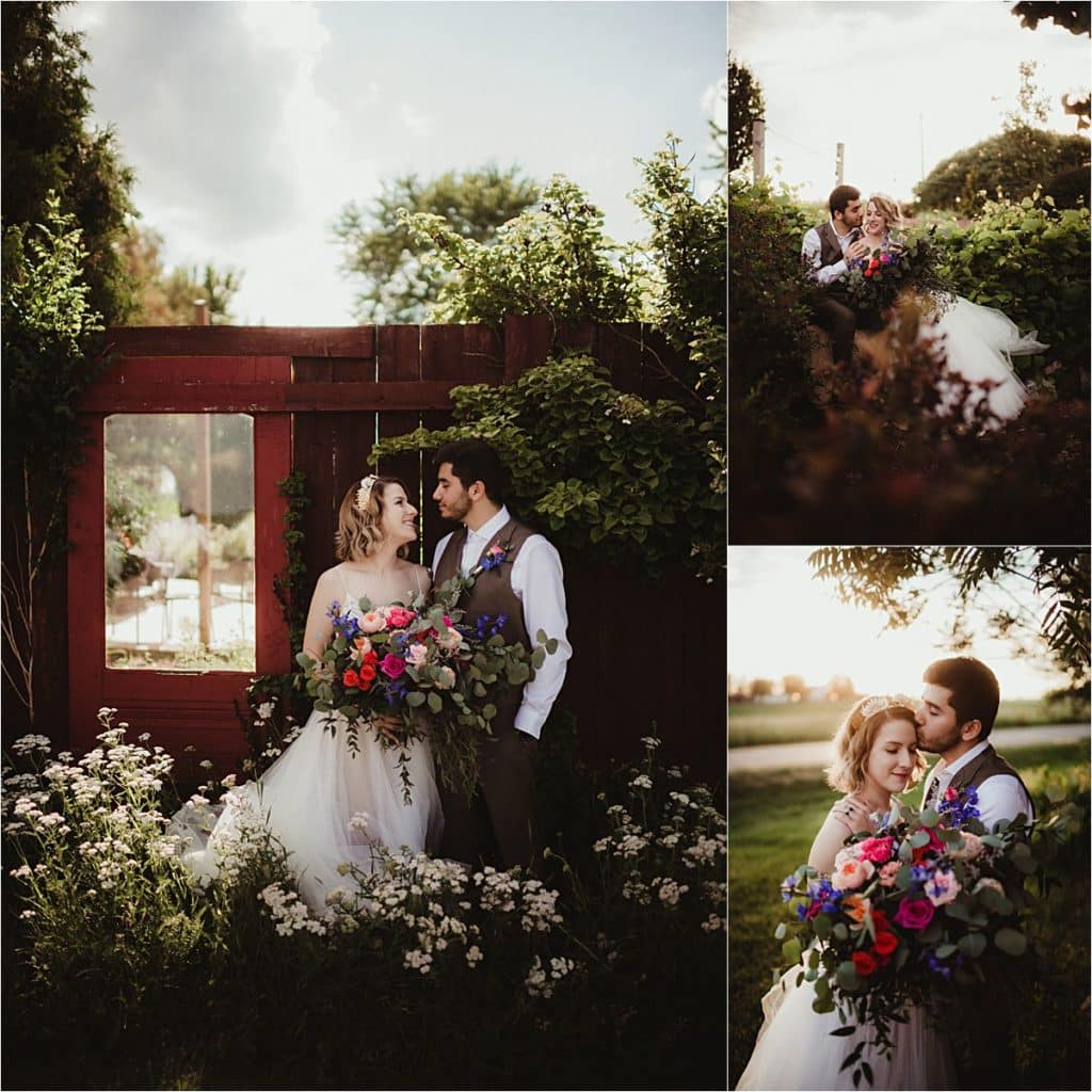 Rustic Chic Summer Wedding Couple with Bouquet