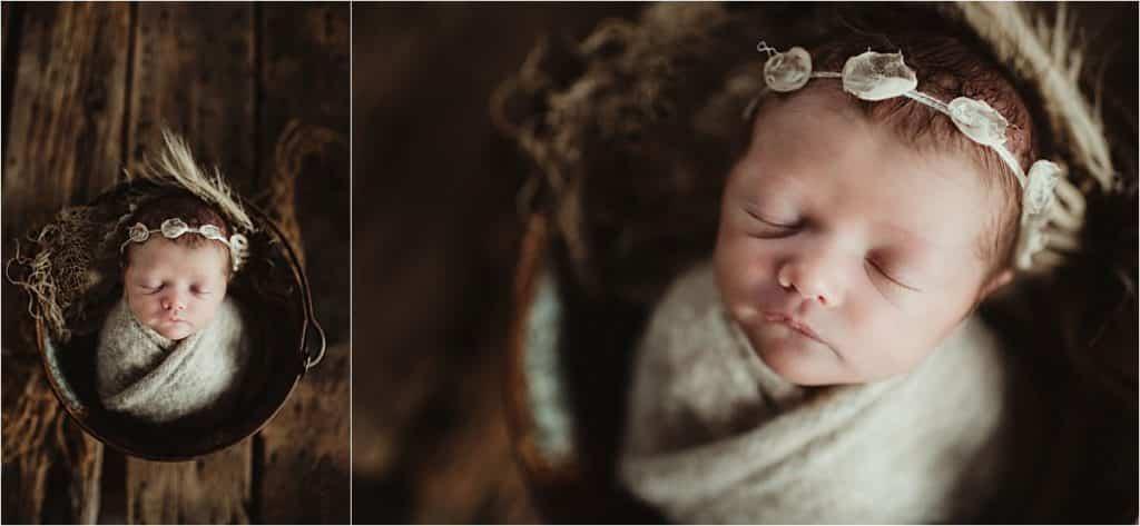Creamy Neutrals Newborn Session Girl in Floral Headband