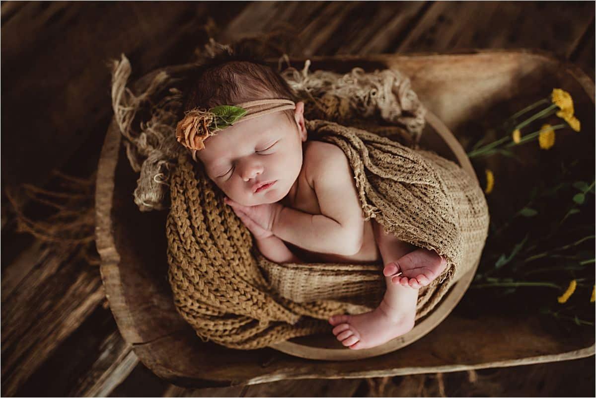 Newborn in Wood Bowl