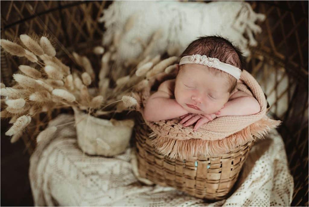 Creamy Neutrals Newborn Session Newborn Girl in Basket