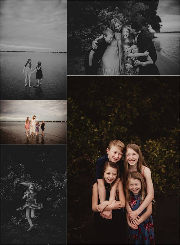 Bay Front Family Session Collage Family on Beach