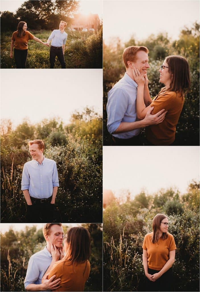 Wildflower Sunset Engagement Session Collage Couple Snuggling