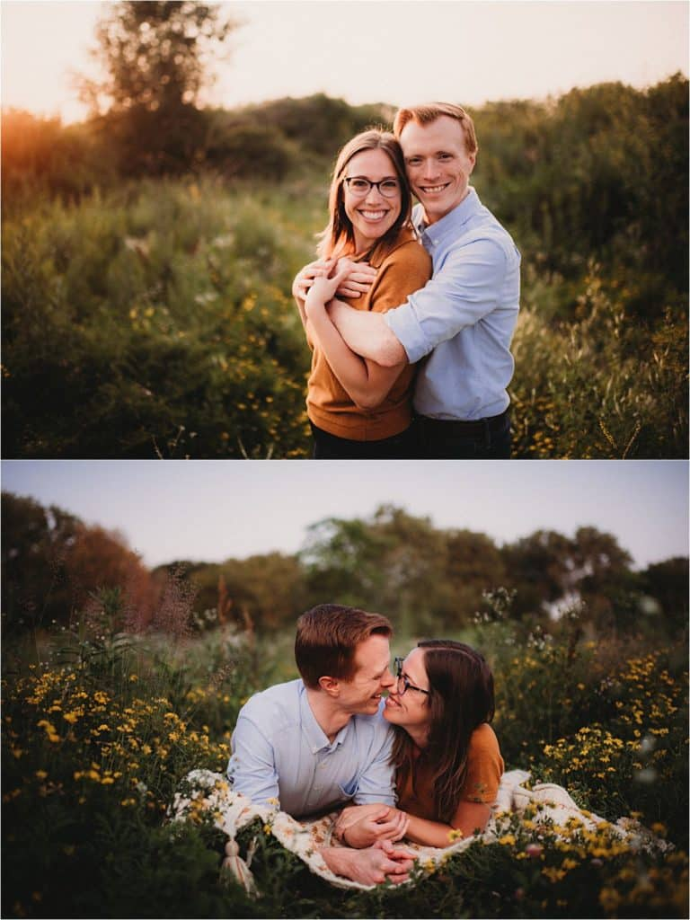 Wildflower Sunset Engagement Session Couple on Blanket