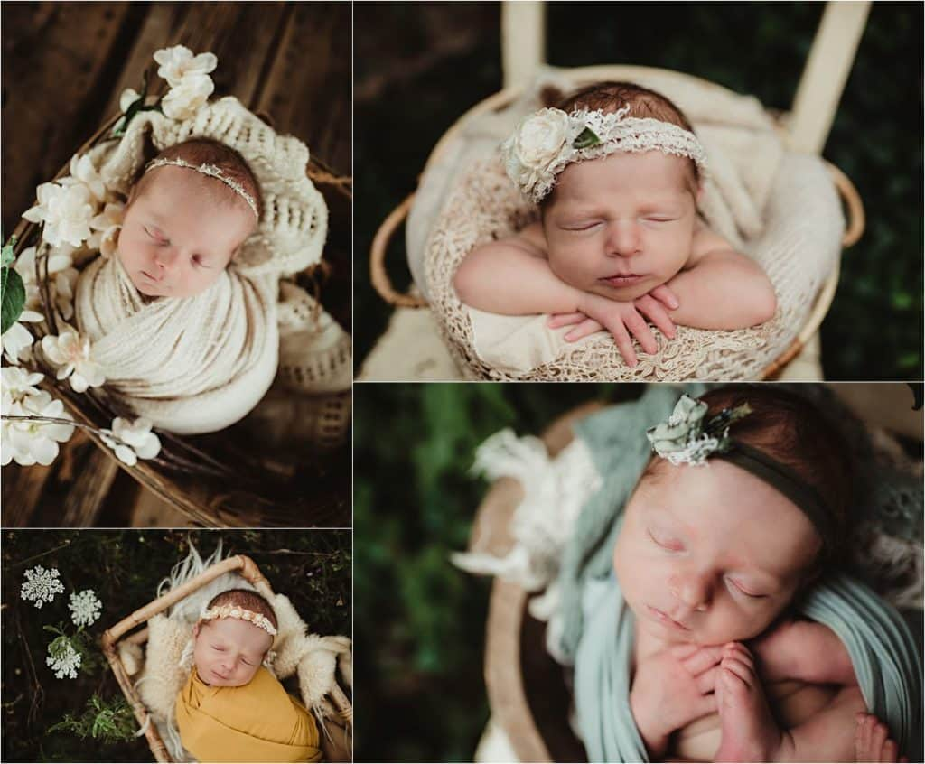 Summer Floral Newborn Session Collage Newborn Girl