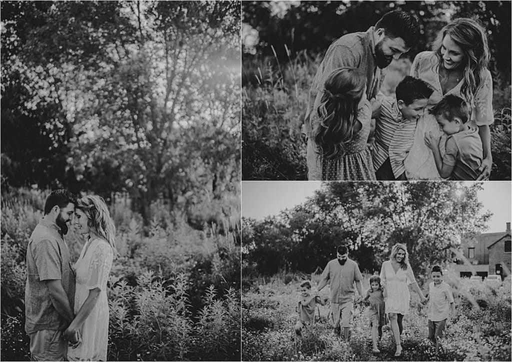 Summer Outdoor Family Session Black White Collage Family
