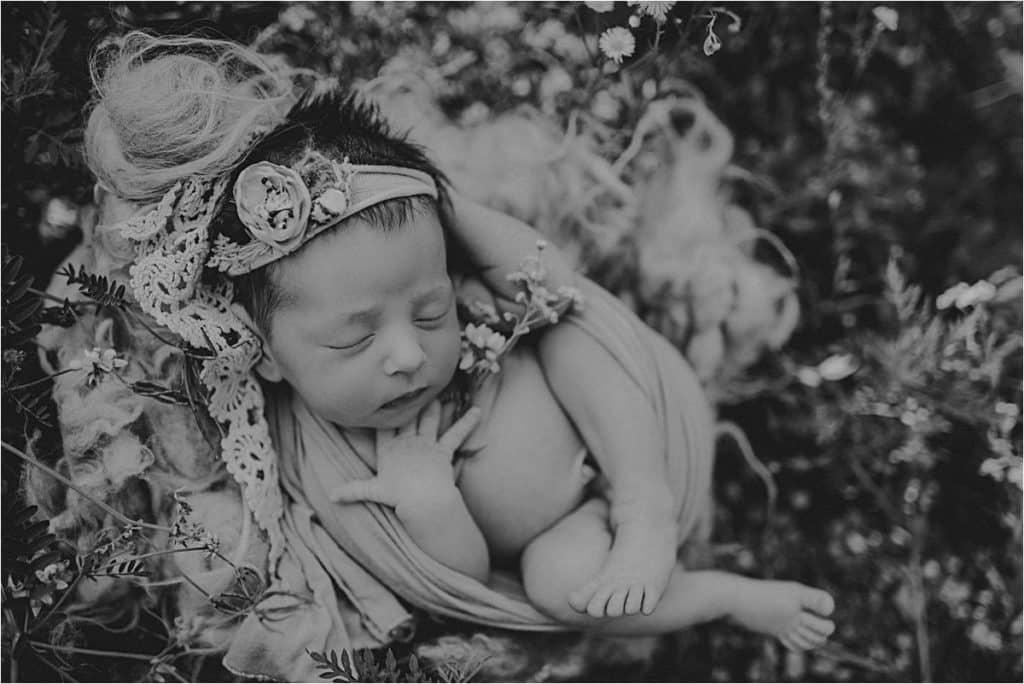 Outdoor Wildflower Newborn Session Black White Image Newborn