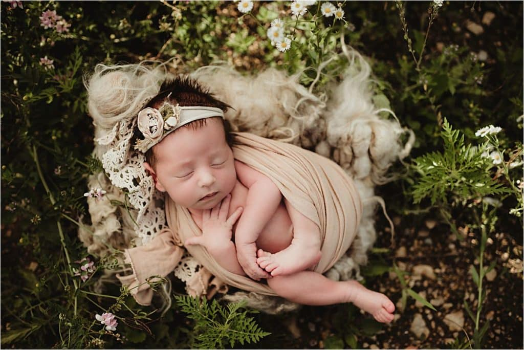 Newborn Girl in Ivory