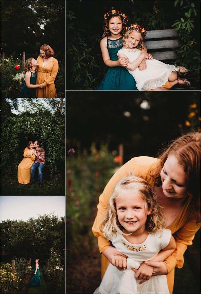 Flower Garden Family Session Collage Mom with Daughters