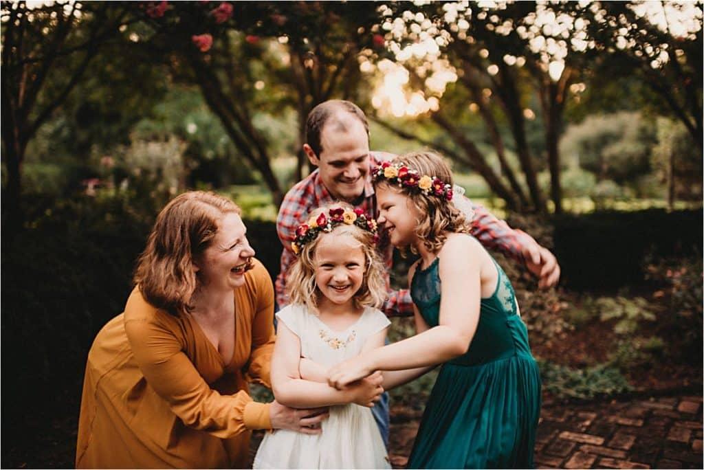 Flower Garden Family Session Family Tickling
