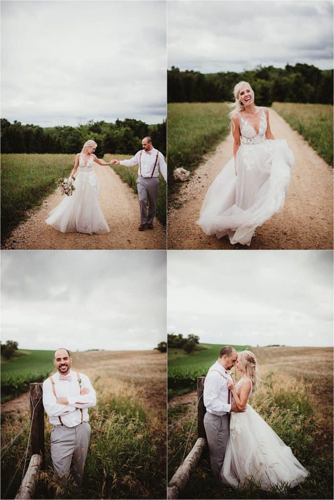 Stormy Skies Summer Wedding Bride Groom on Path