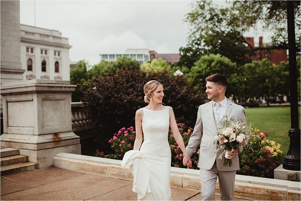 Downtown Wedding Couple Holding Hands