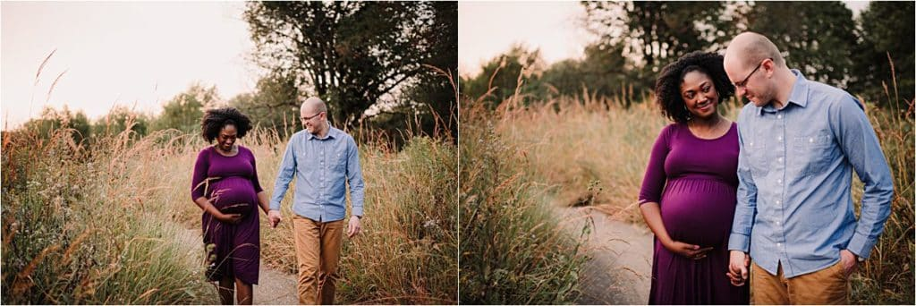 Summer Family Maternity Session Couple with Baby Belly