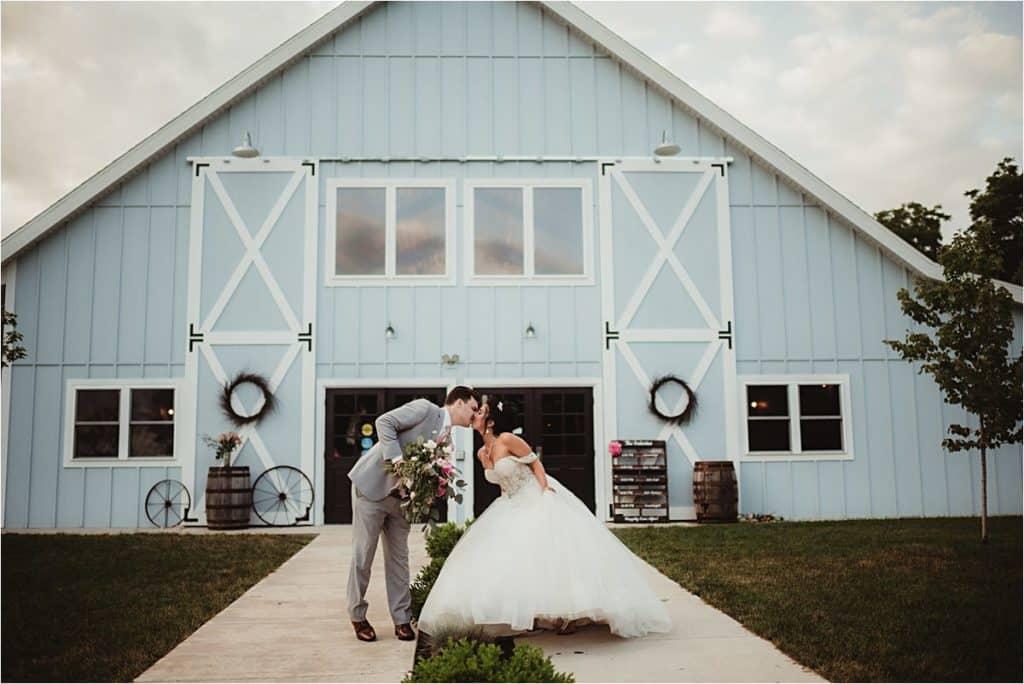 The Fields Reserve Wedding Bride Groom Kissing