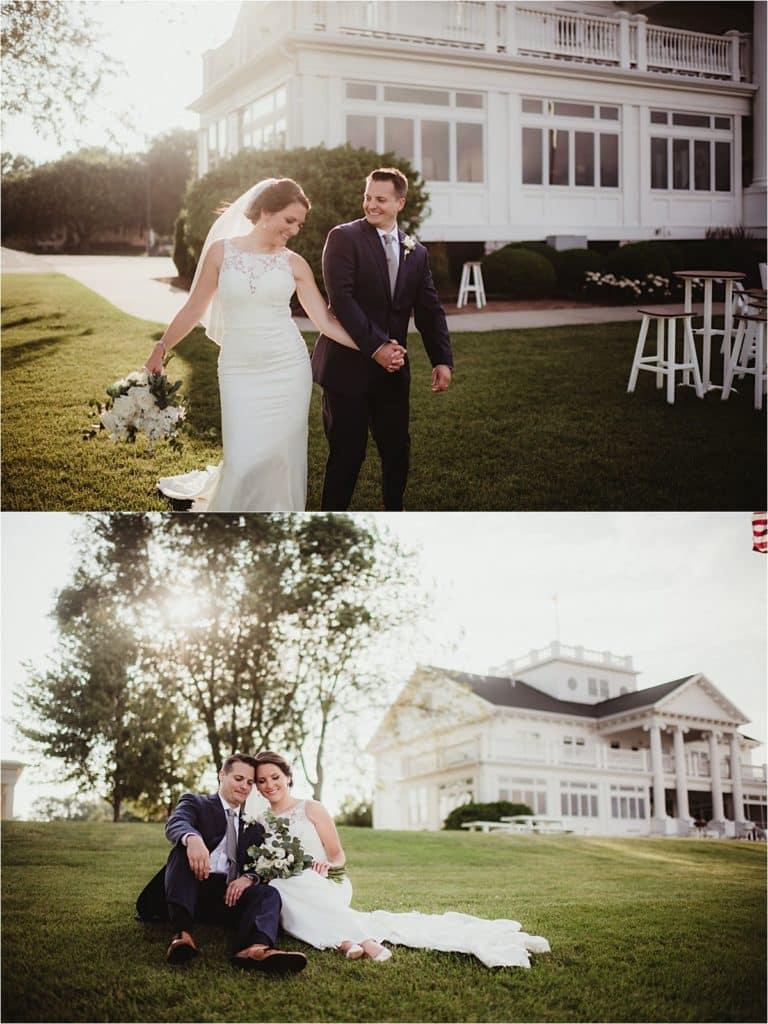 Bride Groom on Lawn