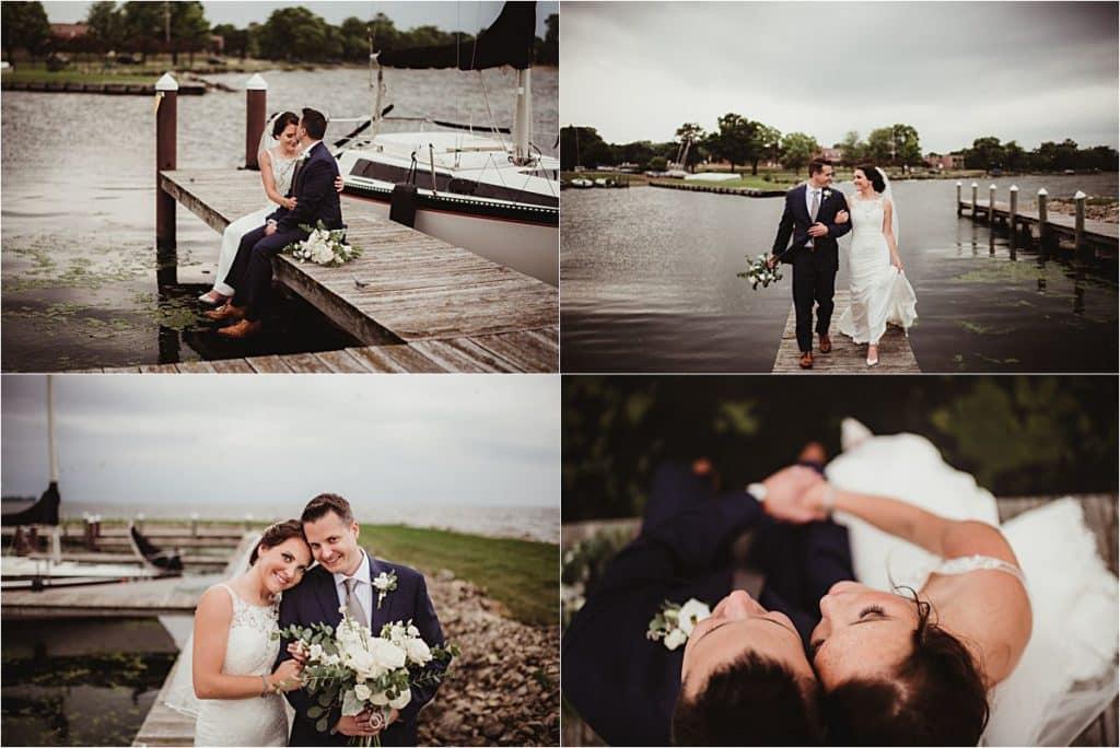 WI Summer Waterfront Wedding Bride Groom on Pier