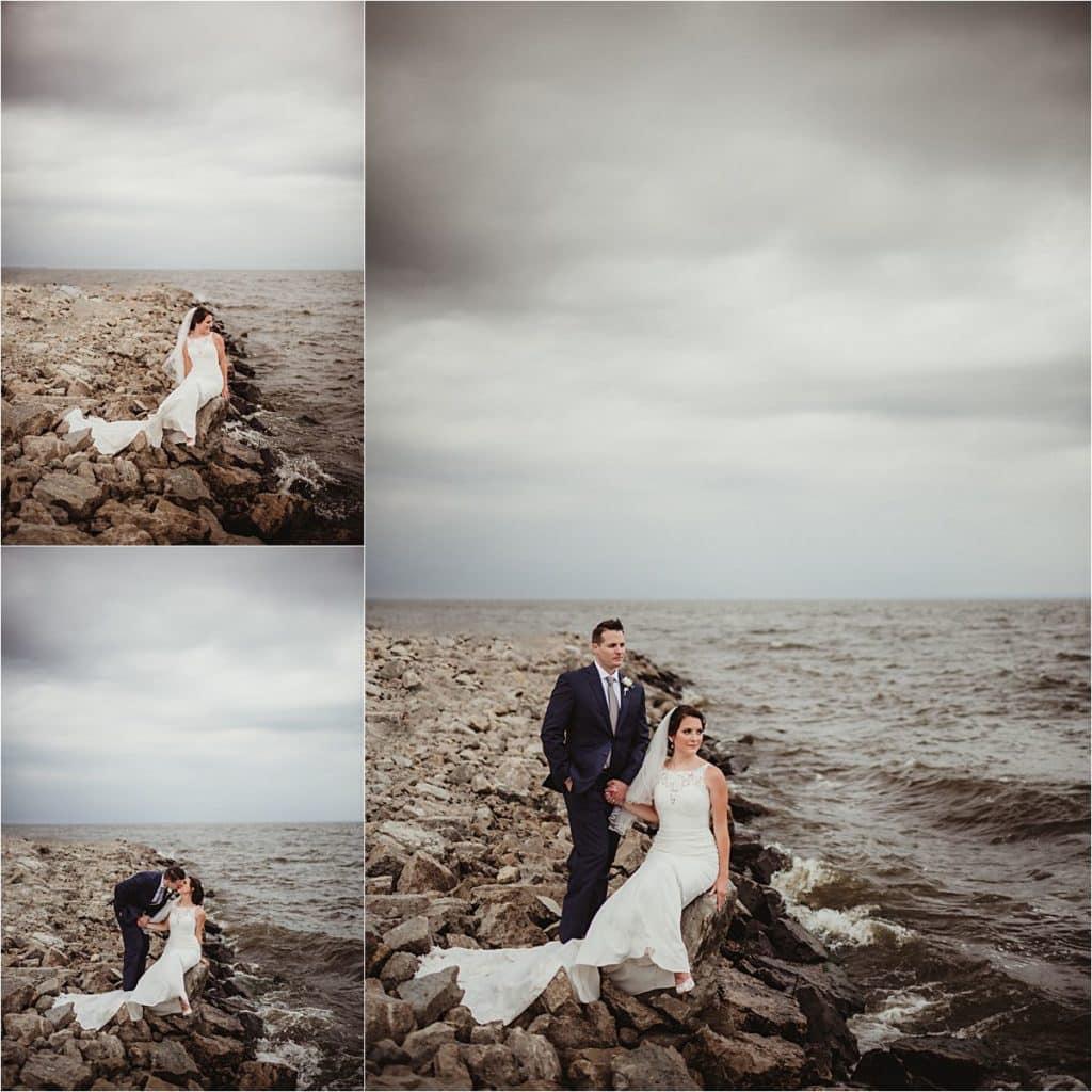 WI Summer Waterfront Wedding Bride Groom on Rocks