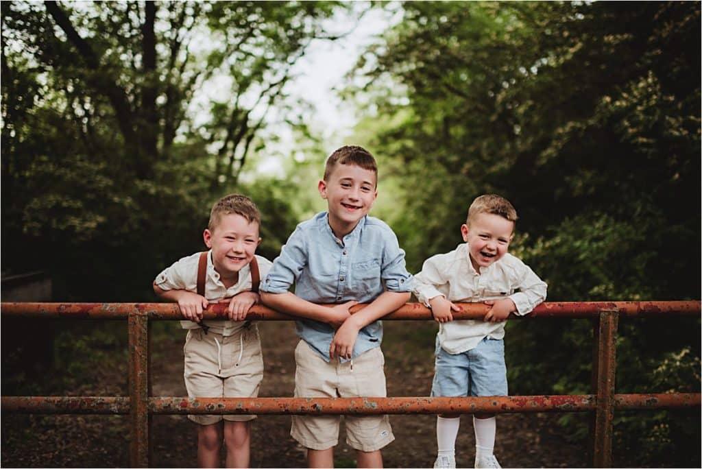 Wooded Park Family Session Three Boys on Bridge