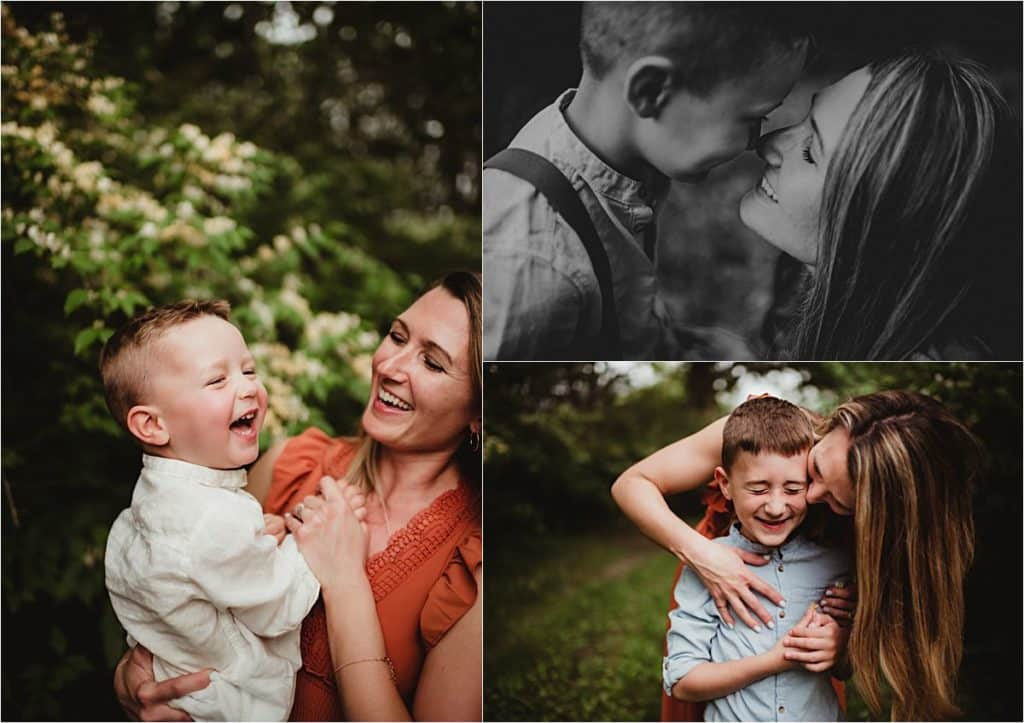 Wooded Park Family Session Mom with Boys