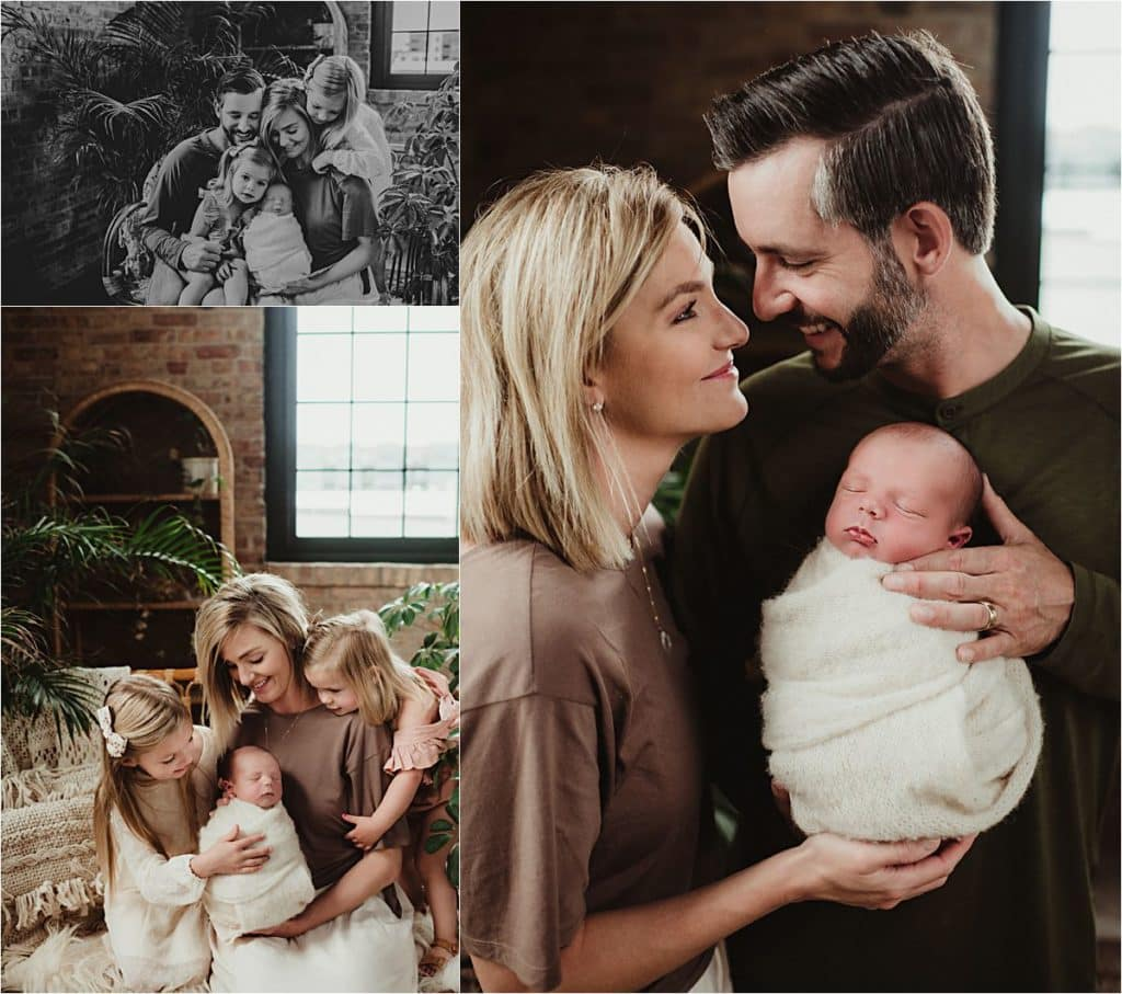 Summer Newborn Session Collage Family with Newborn