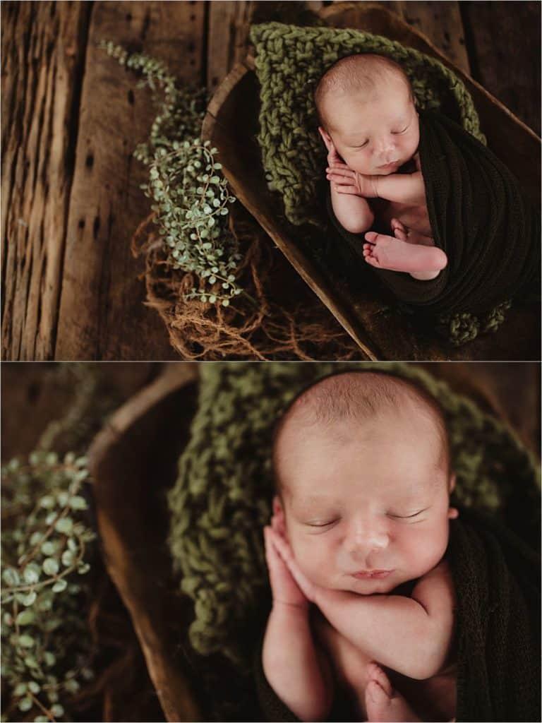 Newborn in Green Wrap