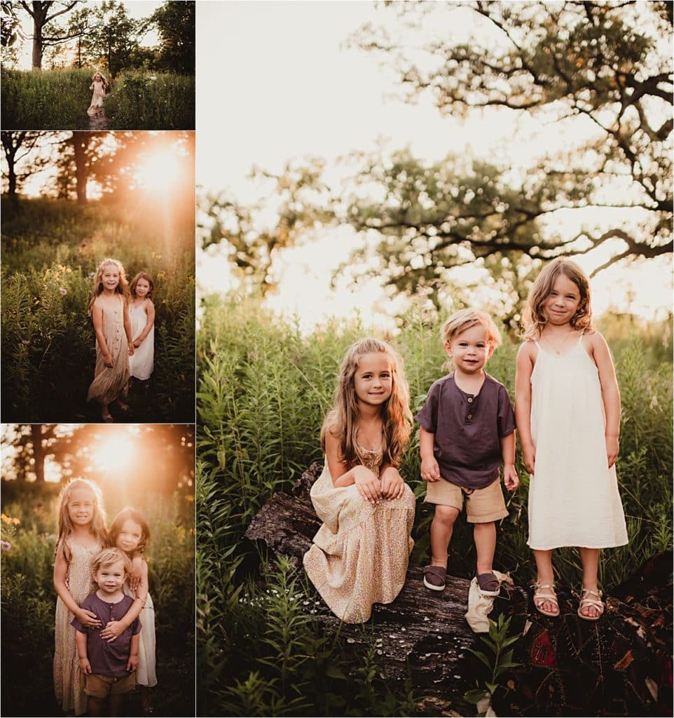 Wildflower Sunset Session Collage of Kids