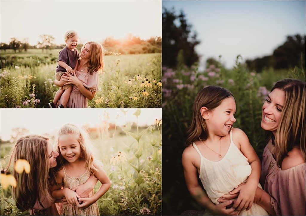 Wildflower Sunset Session Mama with Kids