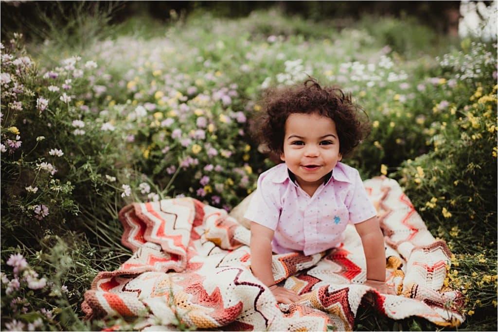 Little Boy on Blanket