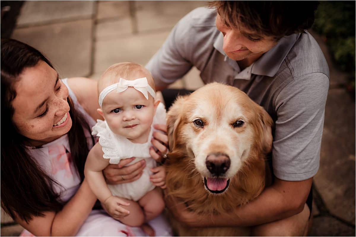Close Up Family with Dog