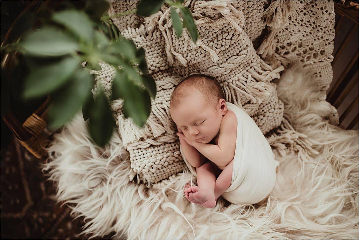 Newborn Boy Curled up Pillow