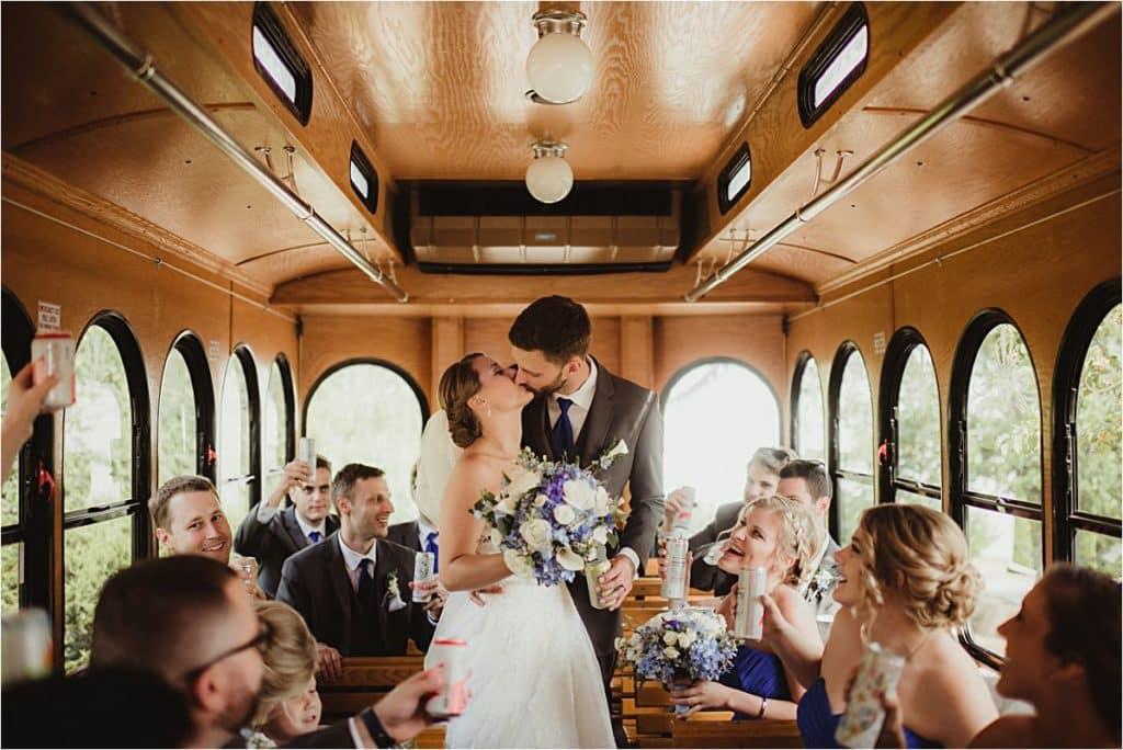 Shades of Blue Wedding Bride Groom on Trolley
