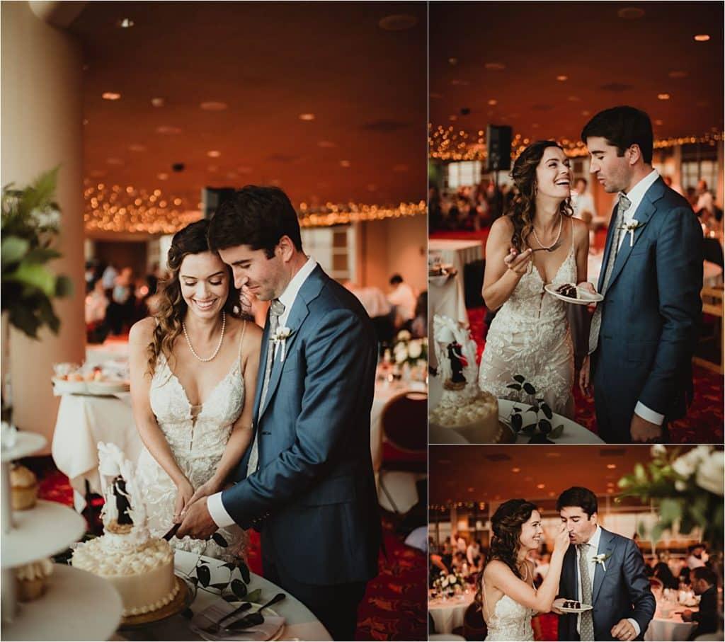 Monona Terrace Summer Wedding Cake Cutting