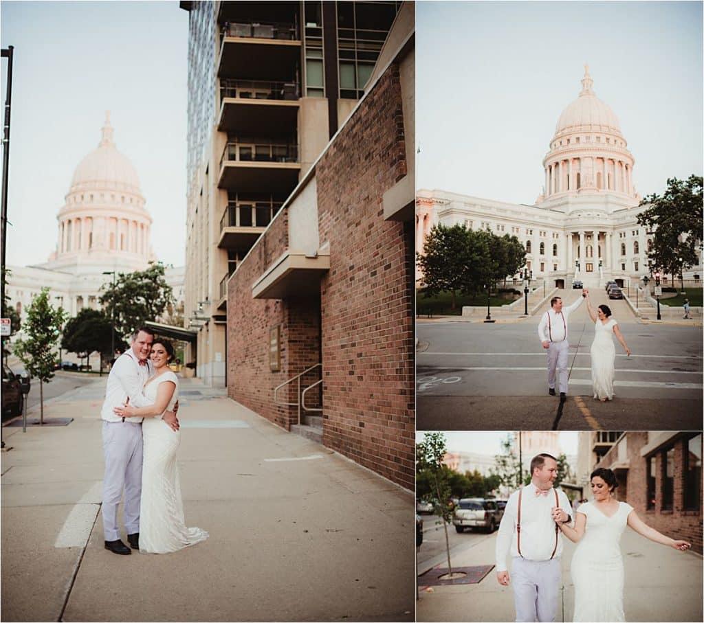 Summer Wedding Reception Couple Downtown Madison
