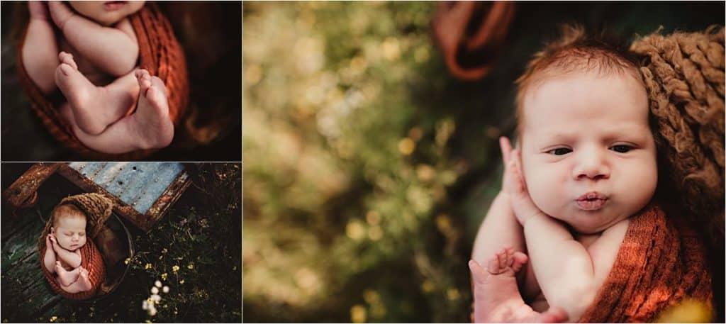 Outdoor Sunset Newborn Session Collage Newborn Details