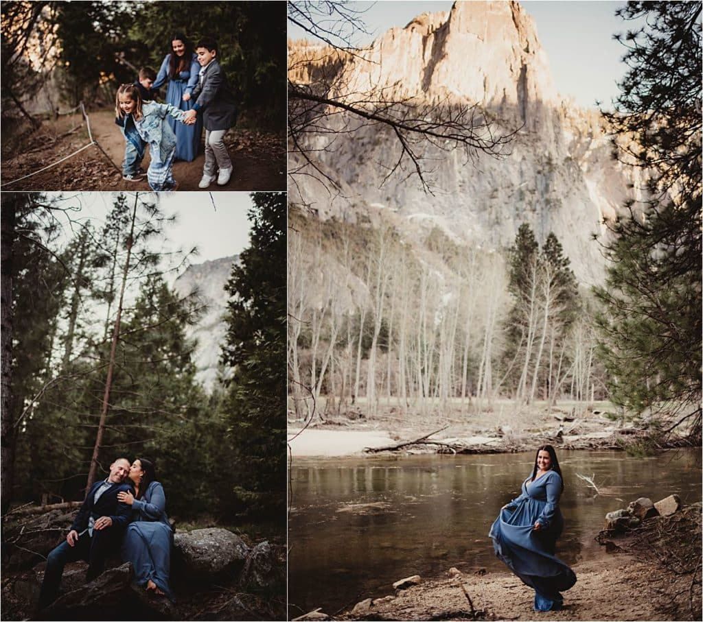 Spring Forest Family Session Collage Sunset