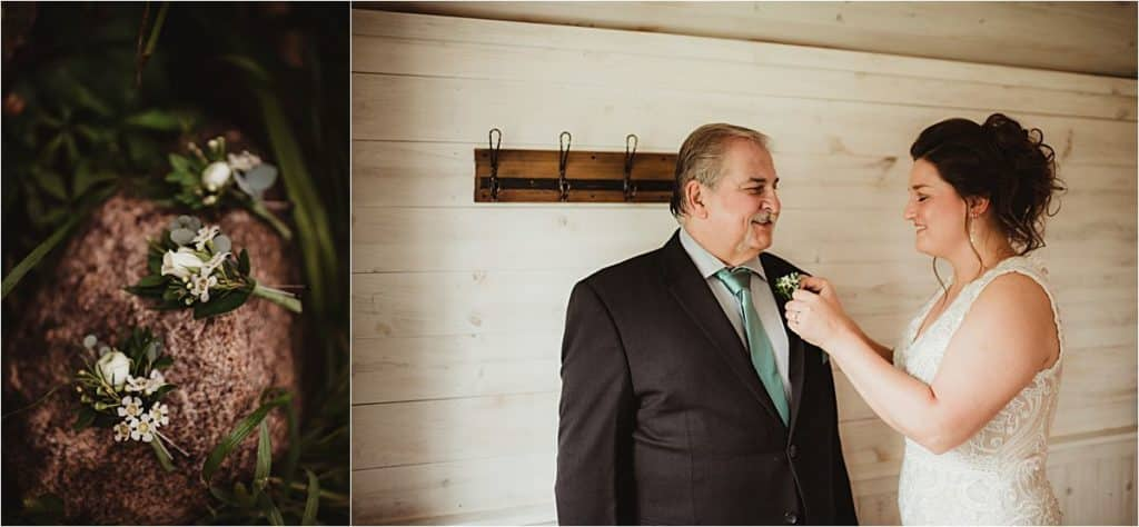 Sage Green and Ivory Wedding Bride with Dad