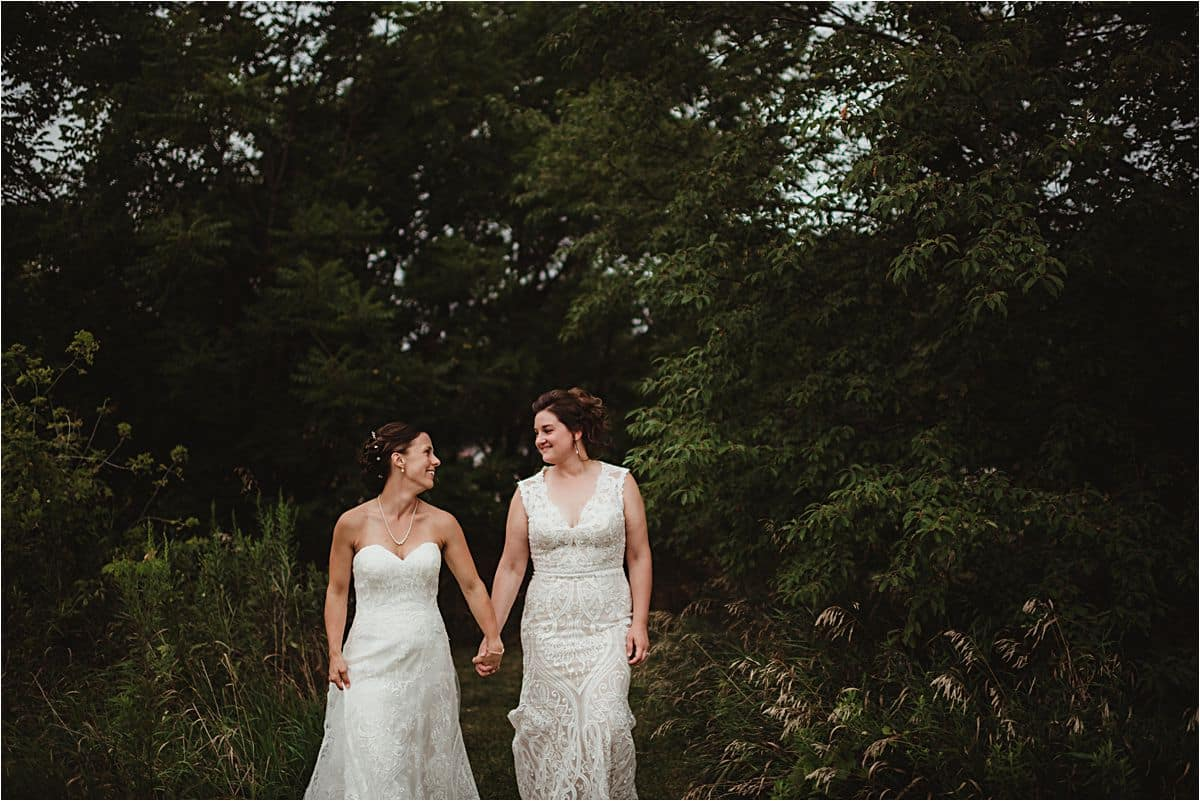 Brides Holding Hands Walking