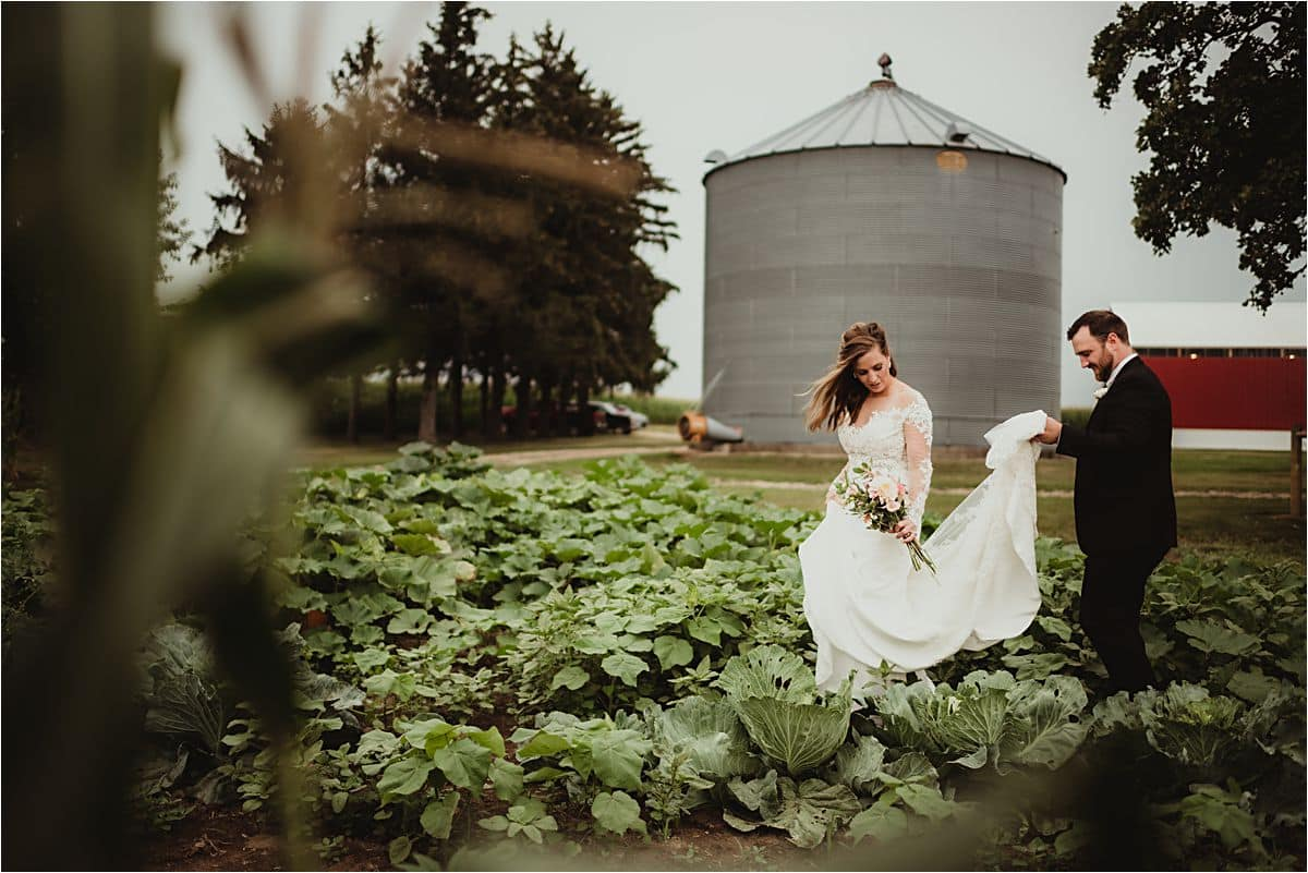 Bride Groom Walking in Field