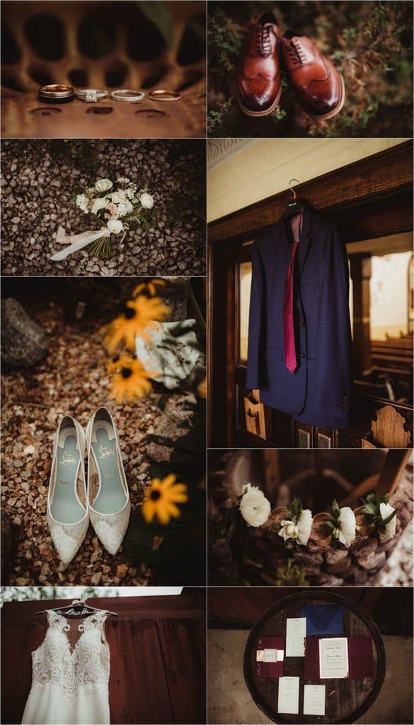 Pops of Cranberry Wedding Getting Ready Details