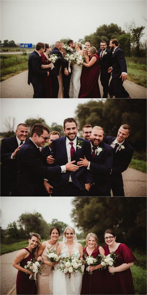 Pops of Cranberry Wedding Party