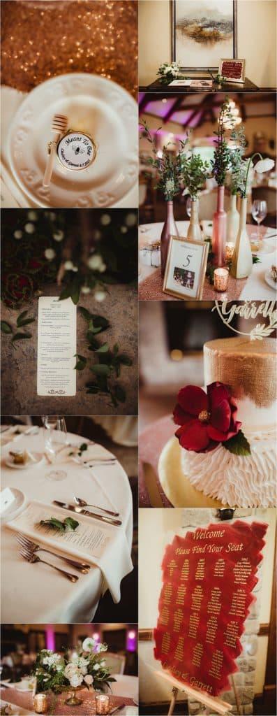 Pops of Cranberry Wedding Reception Details