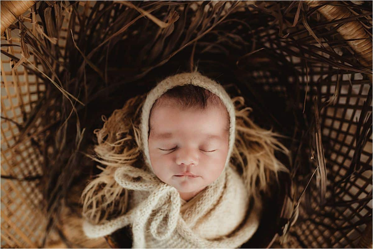 Newborn Boy in Knit Hat