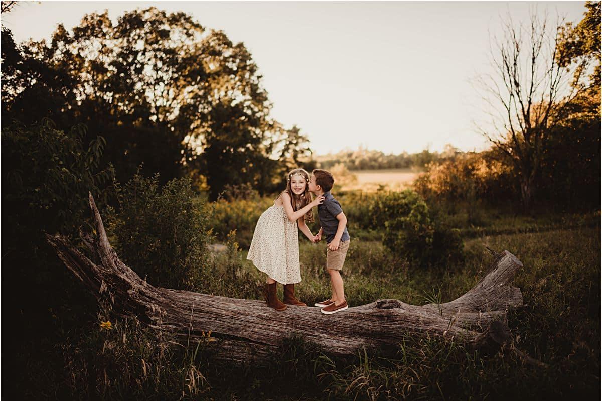 Siblings on Log